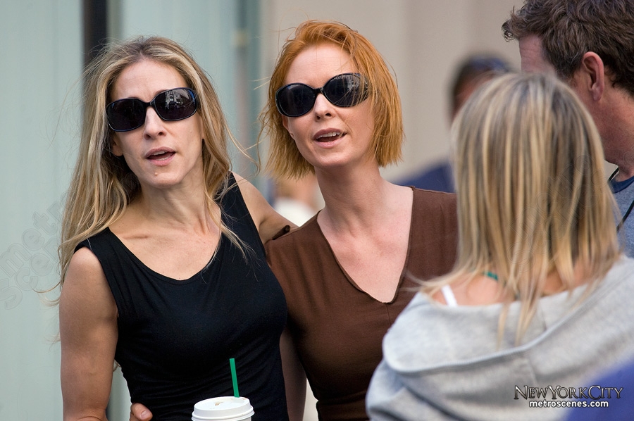 Sarah Jessica Parker and Cynthia Nixon prepared to film the Sex and the City movie...