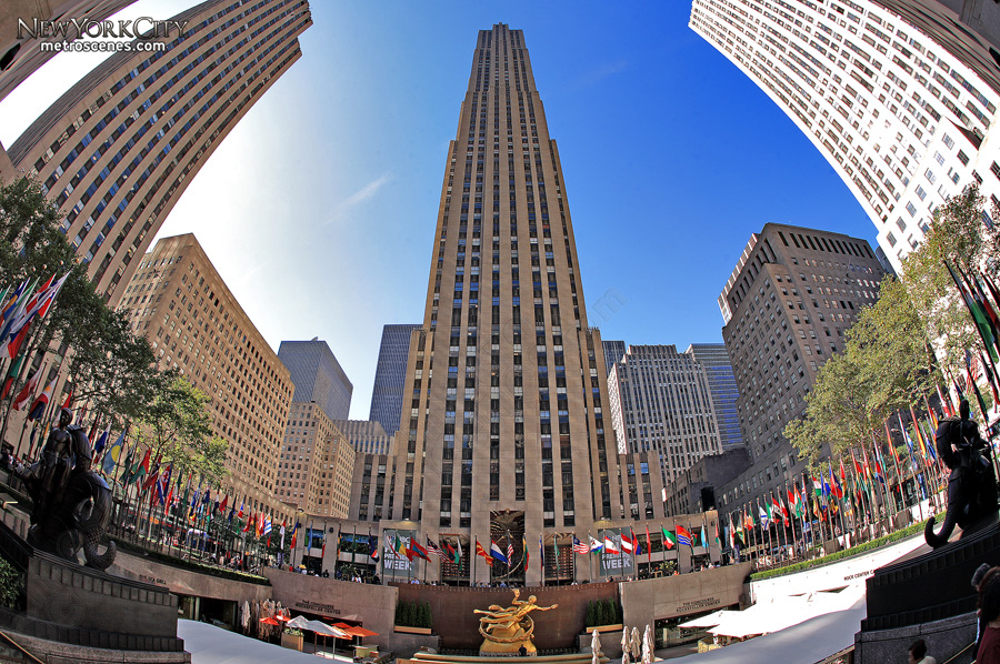 Fisheye of the Rockefeller Center complex