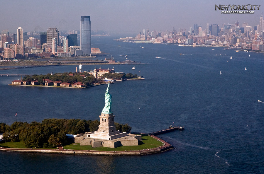 Aerial of Statue of Liberty and Hudson