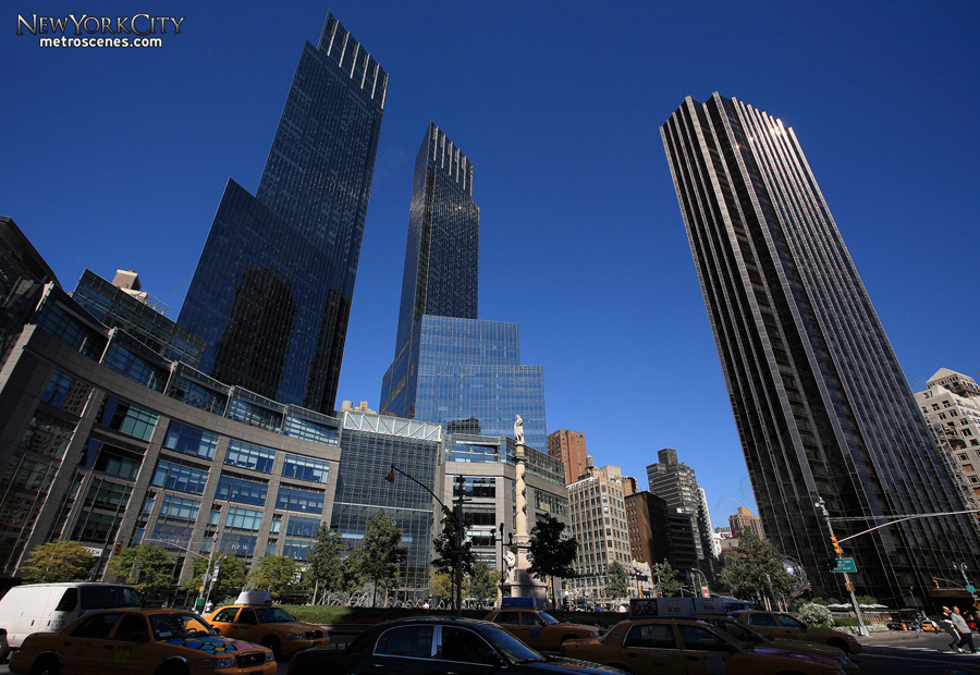 Time Warner Center and Trump International Tower from Columbus Circle.