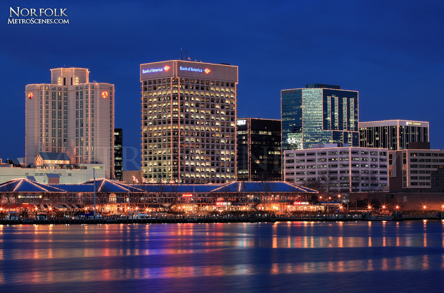Dusk skyline of Norfolk, Virginia