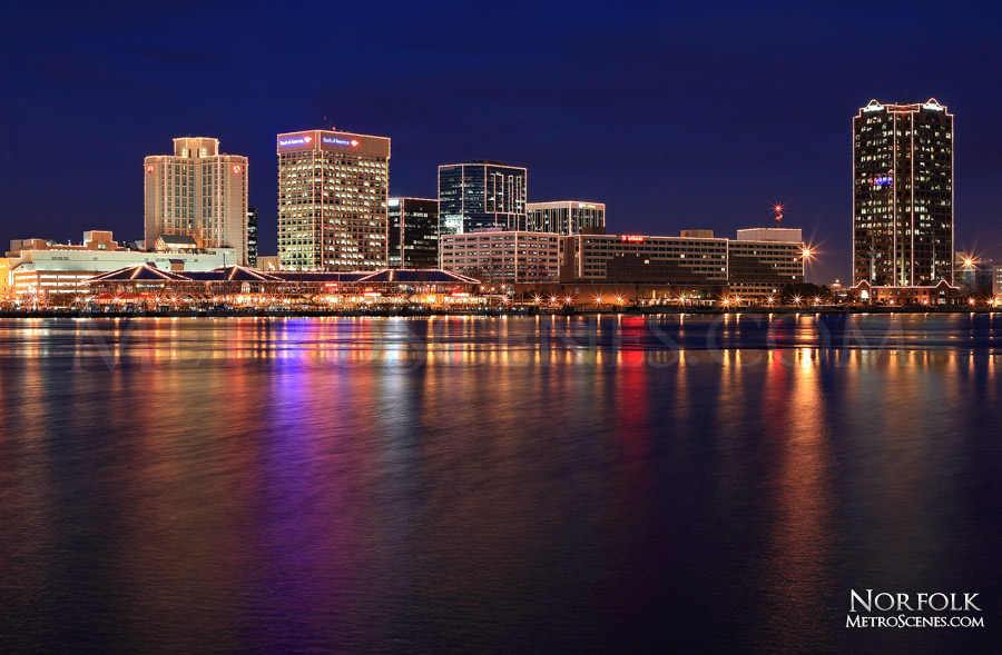 Norfolk, VA Skyline at night