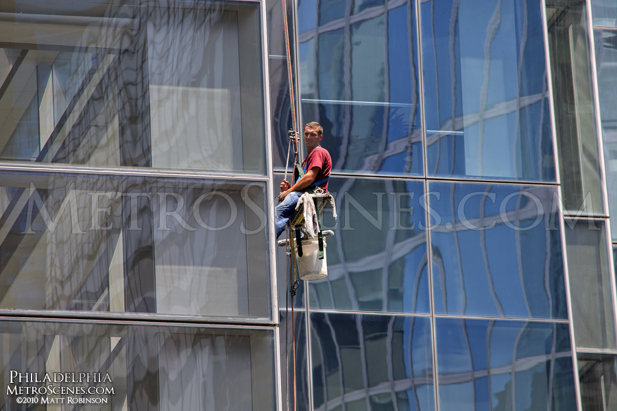 Window washer on the Comcast Center
