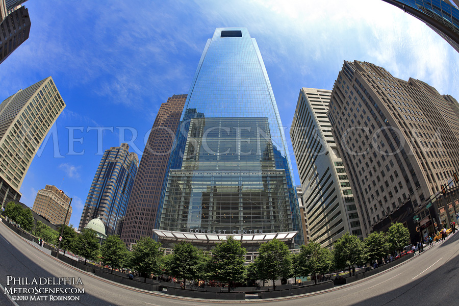 Fisheye of the Comcast Center