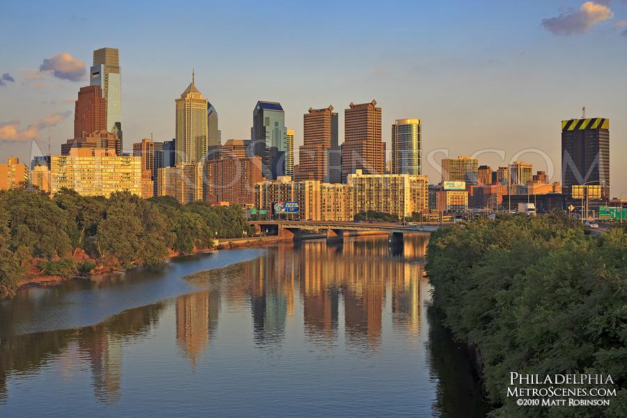 Sun paints the Philadelphia Skyline