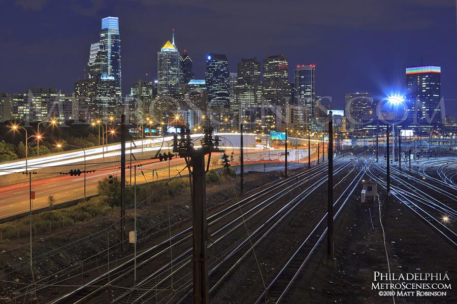 Rails lead into Philadelphia's 30th Street Amtrak Station