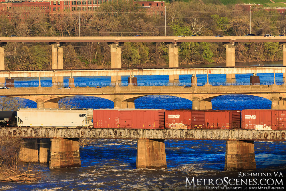 Many Bridges over the James River in Richmond, Virginia