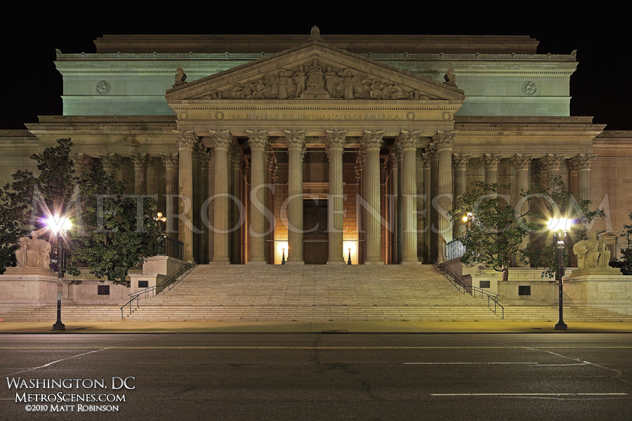 National Archives Building at night