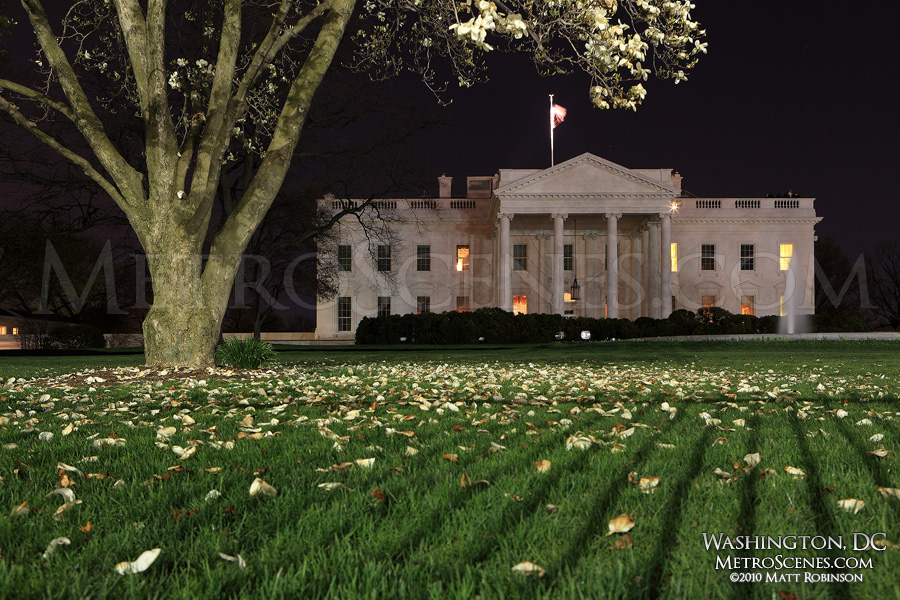 North Lawn of the White House at night