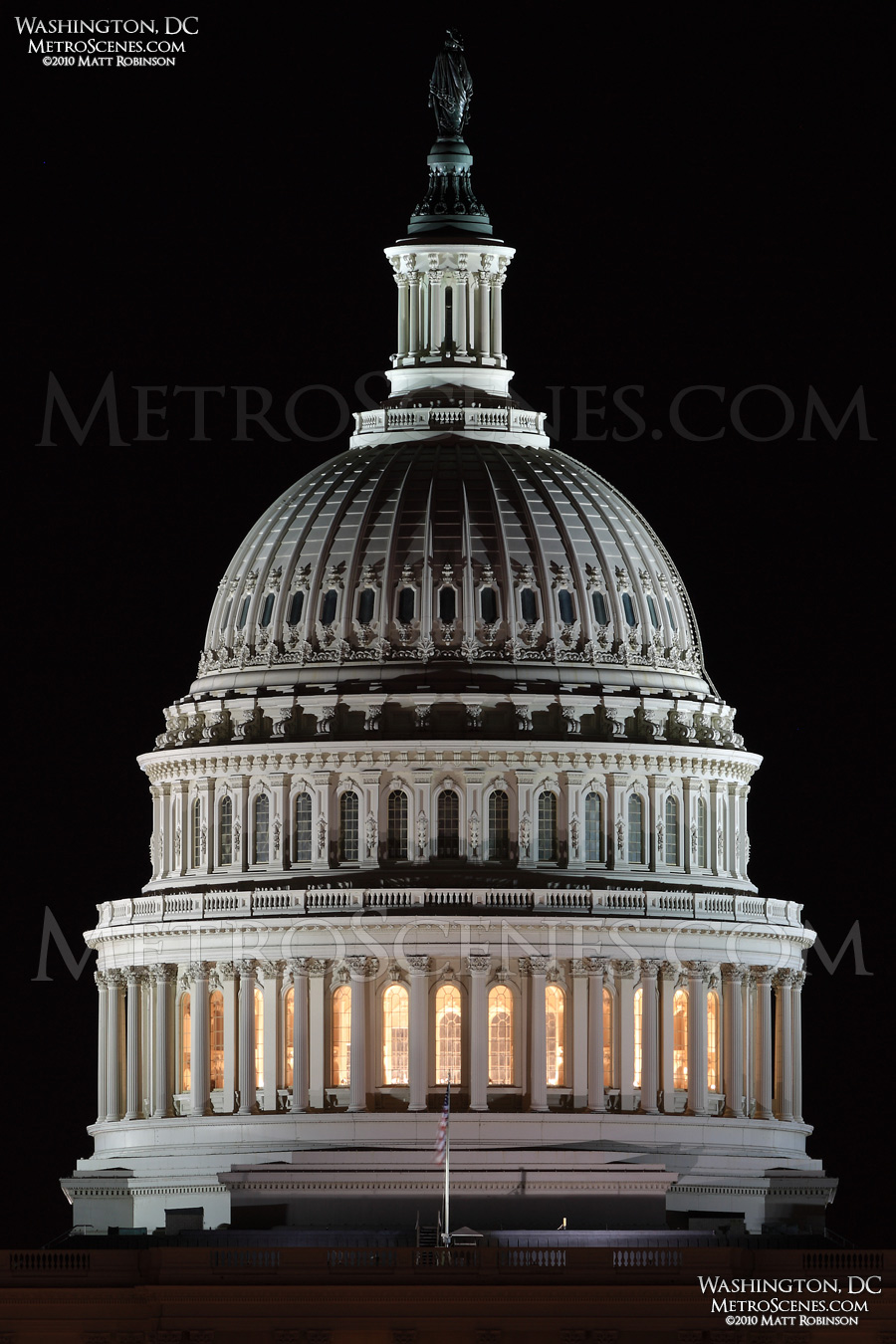 Detail of the United State Capitol Dome at night