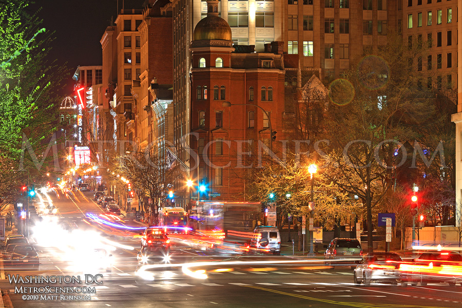 7th Street NW at night, Washington, DC