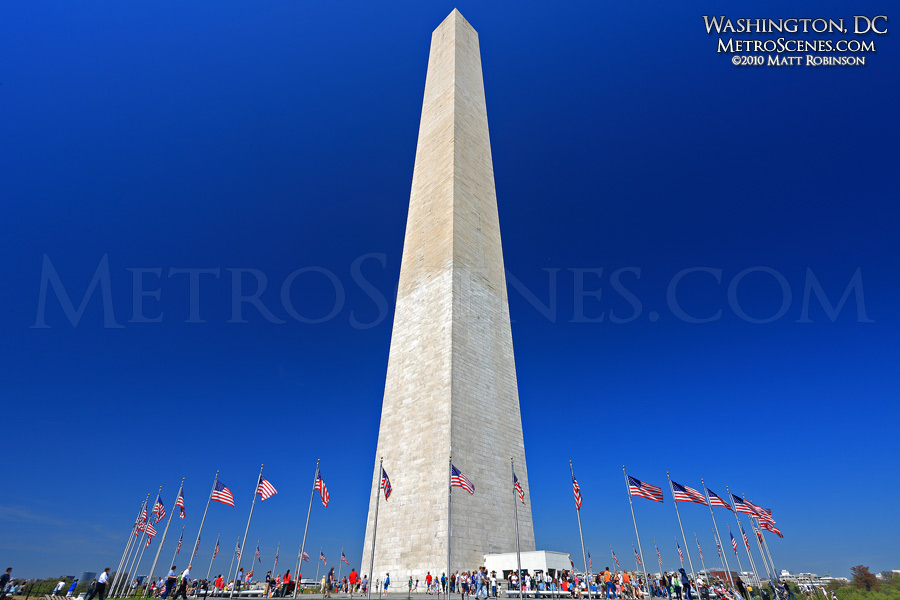 Blue sky with Washington Monument