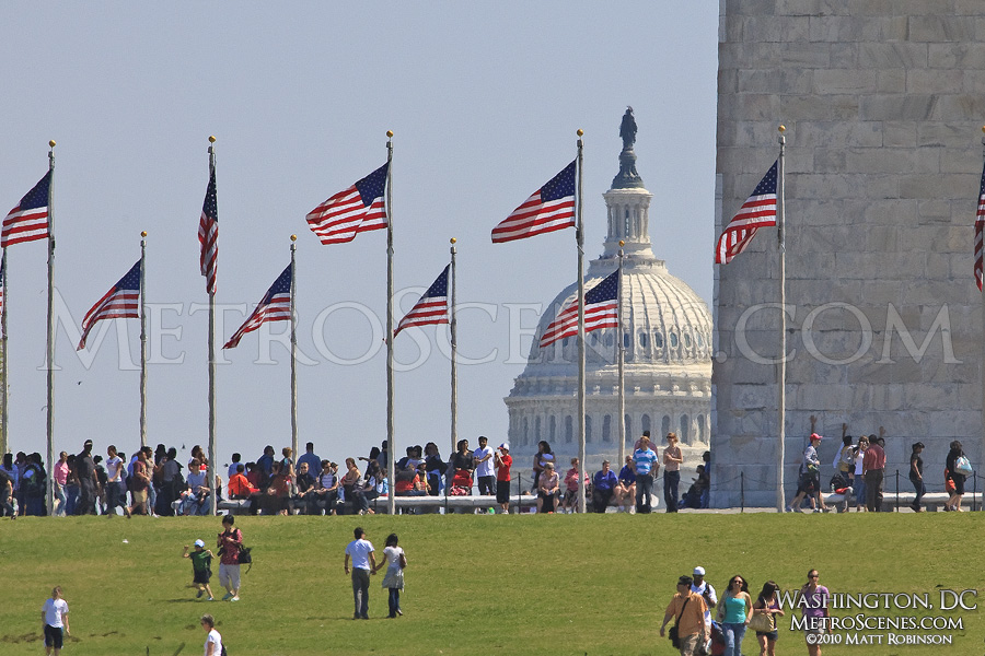 American Flags at the base of the Washington Monument with the Capitol Dome