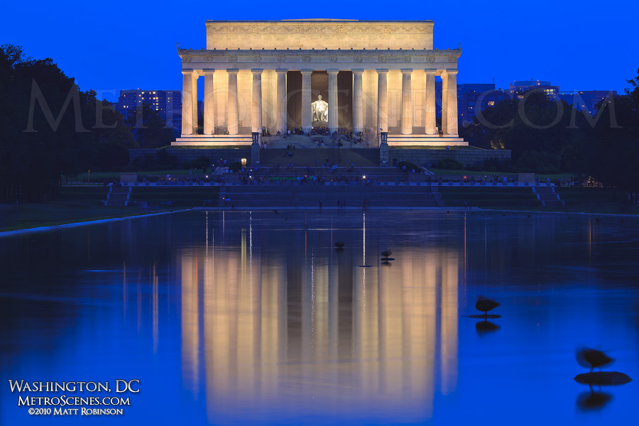 Lincoln Memorial reflects at night