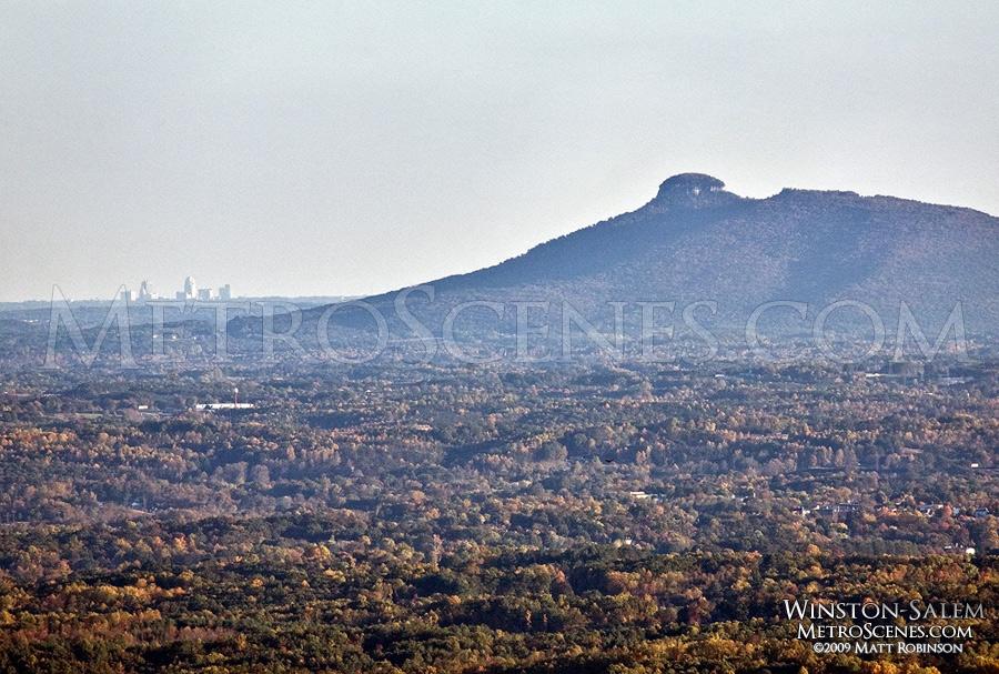 Winston-Salem Skyline with Pilot Mountain from 45 miles away